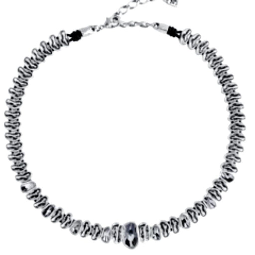 Uno De 50 Necklace Uno de 50 Silver plated leather and grey swarovski grey as hell necklace