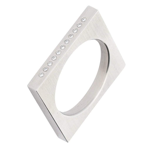 Xen Ring Xen Contemporary Steel & Diamond Sqaure Ring