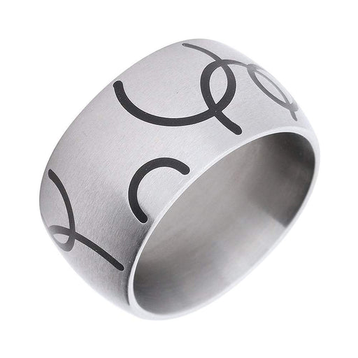 Xen Ring Xen Steel Contemporary Black Circle Design Wide Court Band