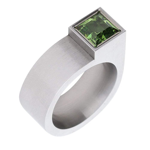 Xen Ring Xen Steel contemporary square peridot ring