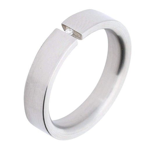 Xen Ring Xen Steel & diamond Tension Set Ring size U