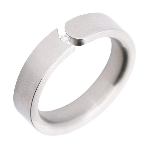 Xen Ring Xen Steel & Diamond Tension Set Ring sizeP