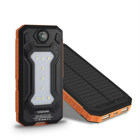 Travel Solar Power Bank 12000mAh Dual USB Solar Battery Portable Charger powerbank With LED Camp Light+1m phone cable