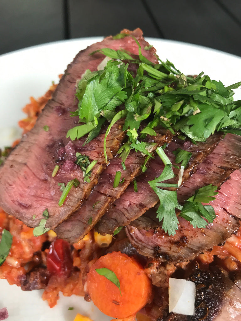 Sante Fe Steak and Spanish Rice