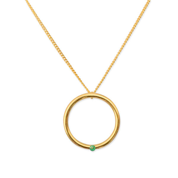 Agate Hoop Necklace in Gold