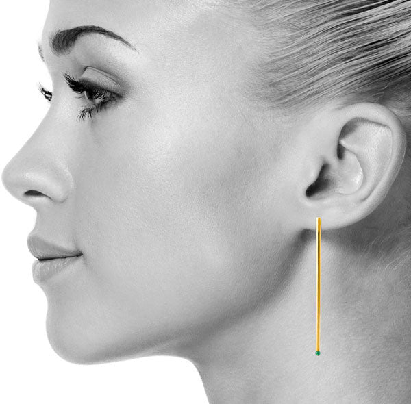 Agate On Point Earrings in Gold