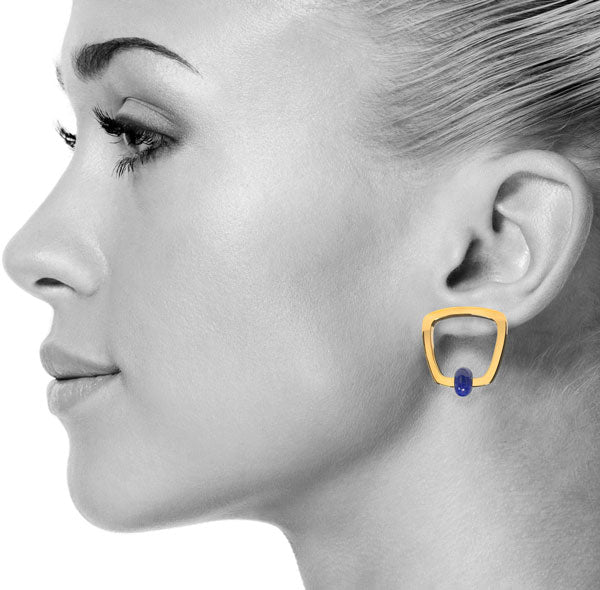 Lapis Etique Earrings in Gold