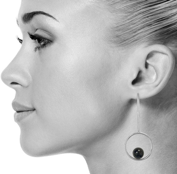 Onyx Lacrosse Earrings in Silver