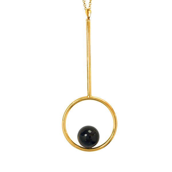 Onyx Lacrosse necklace in Gold