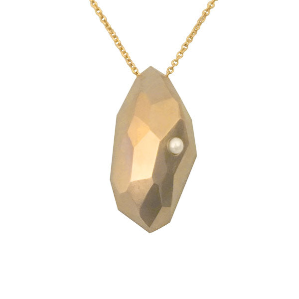 Pearl Faceted Meteor Necklace in Gold