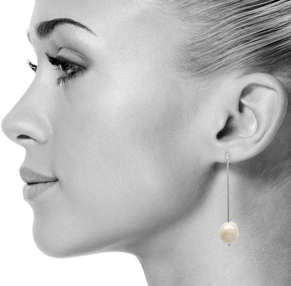 Pearl Drop Earrings in Silver