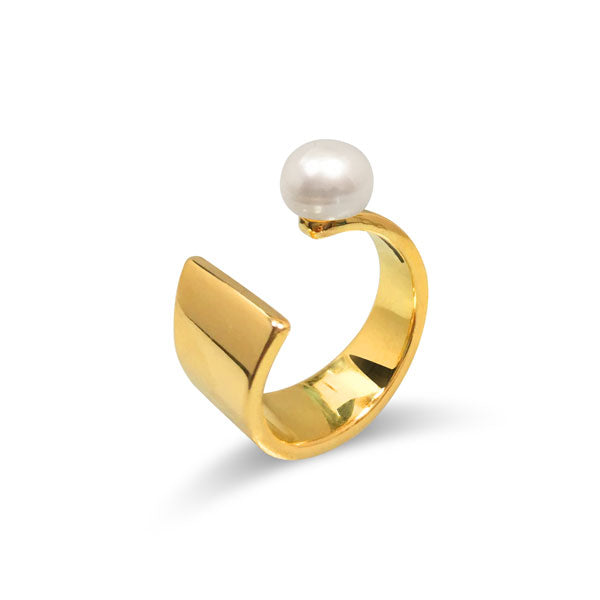 Floating Pearl Ring in Gold