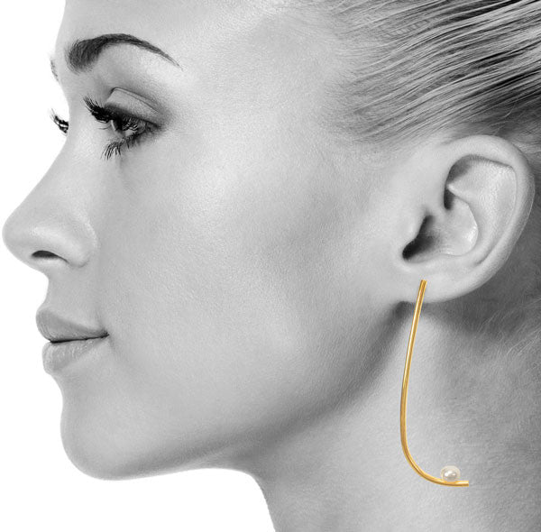 Pearl Slay Earrings in Gold