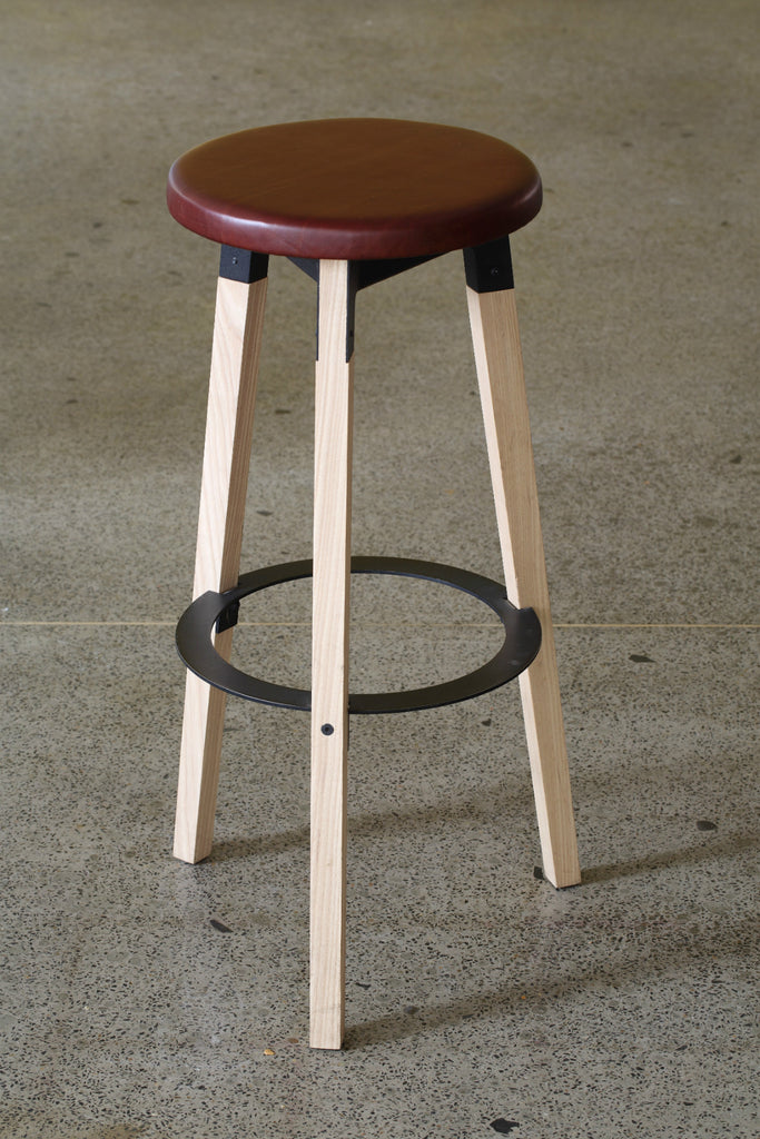Huguenot Barstool - Leather Seat