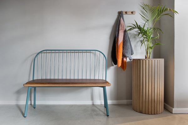 Fluted Bench - Leather Seat