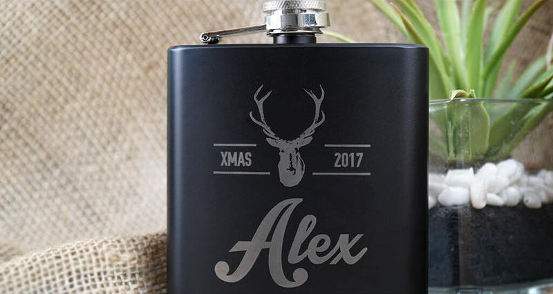 BLACK FLASK SET IN ROSEWOOD BOX