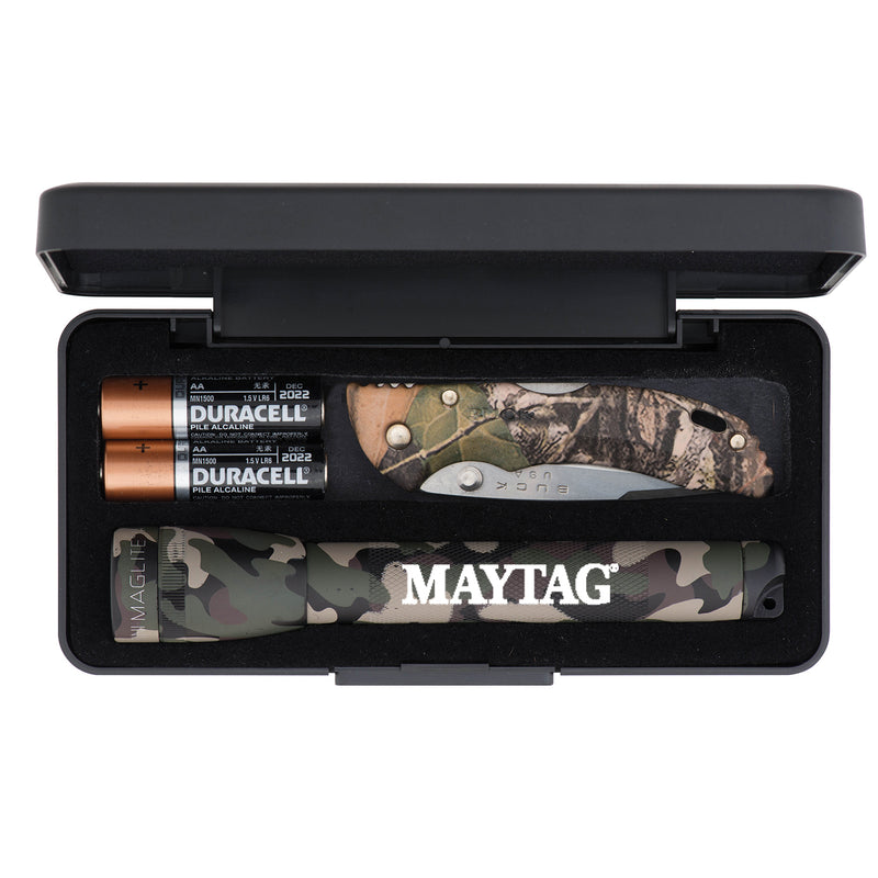 """AA"" Camo Mini Maglite® with Buck® Bantam BBW Camo Lockback Knife"