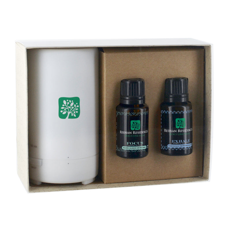 Electronic Diffuser & TWO Essential Oils; 15mL Dropper Bottles In Gift Box