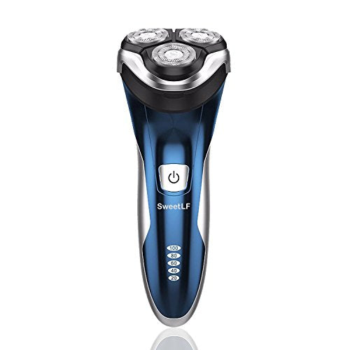 SweetLF Electric Shaver for Men 100% Waterproof IPX7 Wet & Dry Rechargeable Rotary Shaving Razor with Pop-up Trimmer, Blue
