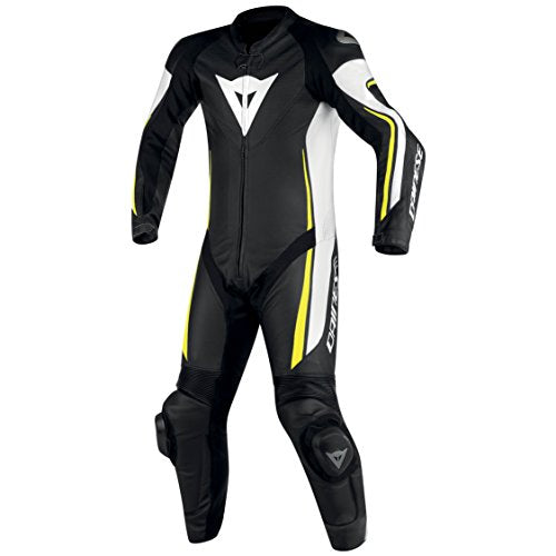 Dainese Mens Assen 1 Piece Perforated Leather Suit US 50 Black White Fluo Yellow