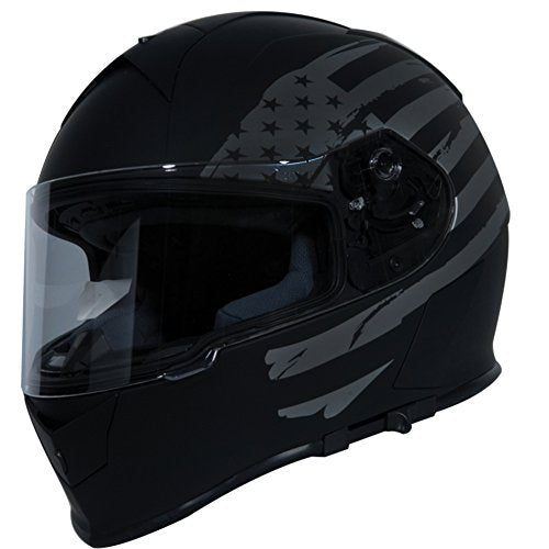 TORC T14 Mako Flag Full Face Helmet (Flat Black, Large)