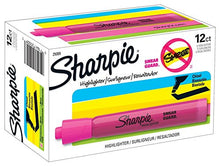 Sharpie Tank Highlighters, Chisel Tip, Fluorescent Pink, 12-Count