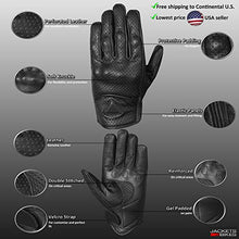 Premium Men's Motorcycle Leather Perforated Cruiser Protective Gel Gloves L