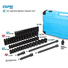 Capri Tools 1/2-Drive Deep Impact Socket Set with Adapters and Extensions, Chrome Molybdenum, Master Set Metric and SAE, Manganese Phosphate, 61-Piece