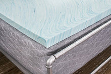 "DreamFoam Bedding DF20GT2050 2"" Gel Swirl Memory Foam Topper, Queen, Blue"