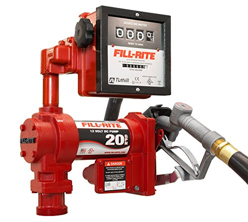 Fill-Rite FR4211G High Flow Fuel Transfer Pump with Meter, Telescoping Suction Pipe, 12' Delivery Hose, Manual Release Nozzle, 4-Wheel Register Meter - 12 Volt, 20 GPM