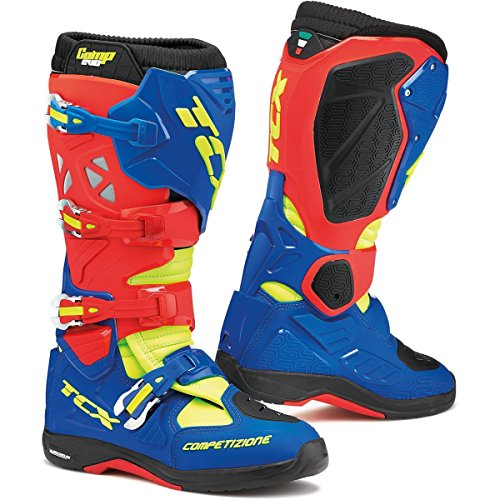 TCX Comp Evo Michelin Men's Off-Road Motorcycle Boots Red/Bright Blue/Yellow Fluro Size 43