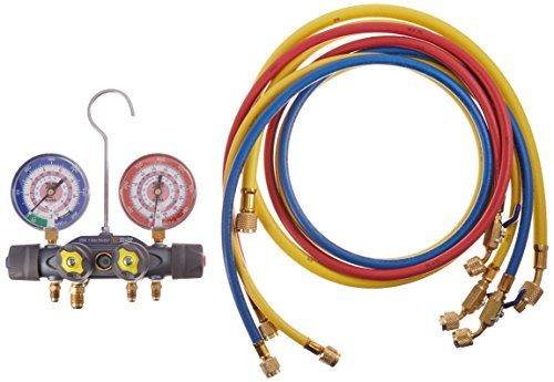 Yellow Jacket 49960 Titan 4-Valve Test and Charging Manifold degrees F, bar/psi Scale, R-410A Refrigerant, Red/Blue Gauges