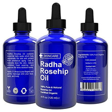 Radha Beauty Rosehip Oil 4 oz - 100% Pure Cold Pressed Certified Organic