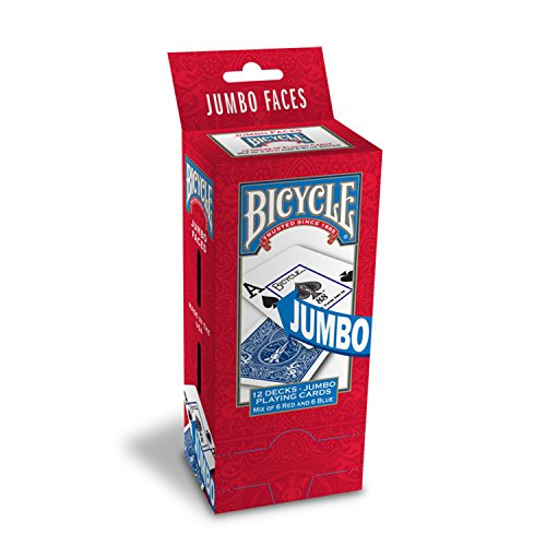 Bicycle Poker Size Jumbo Index Playing Cards, 12 Deck Player's Pack