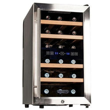 Koldfront 18 Bottle Free Standing Dual Zone Wine Cooler, Black and Stainless Steel