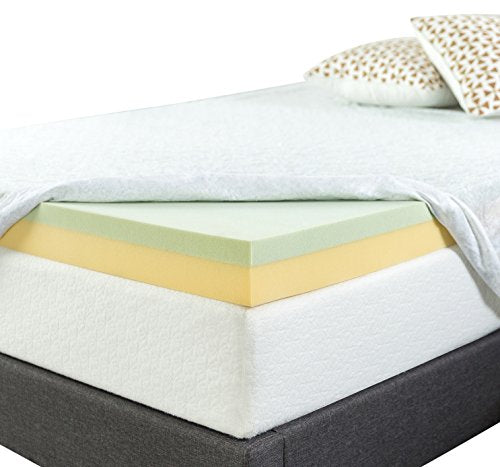 Zinus 4 Inch Green Tea Memory Foam Mattress Topper, Queen