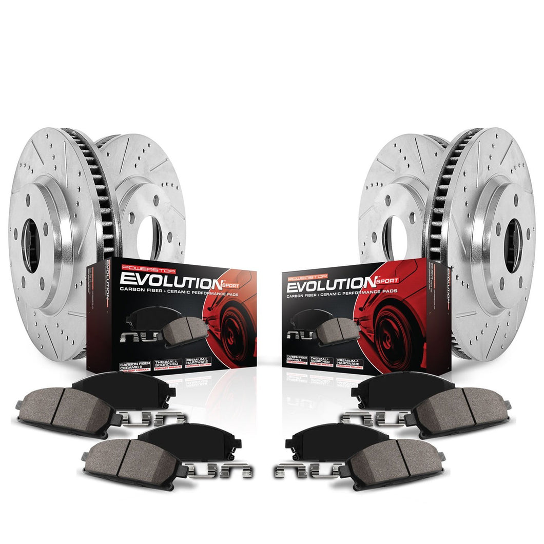 Power Stop K1782 Front and Rear Z23 Evolution Brake Kit with Drilled/Slotted Rotors and Ceramic Brake Pads