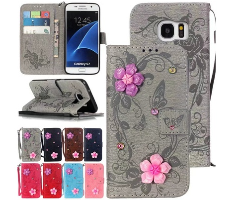 3D Butterfly Flowers Glitter Diamond Wallet Stand Cover For Samsung S5/S6/S7