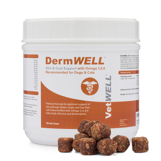 DermWELL Skin and Coat Support with Omega 3,6,9, Krill Oil and Astaxanthin