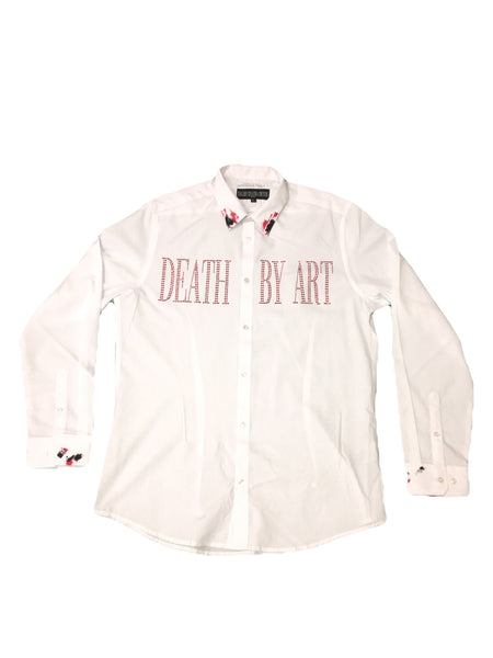 DBA Button Up White/Red