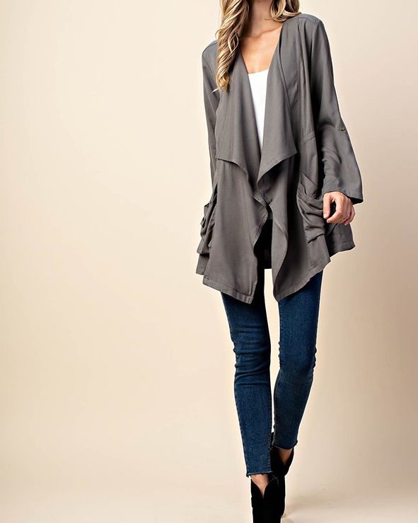Olive Open Cardigan