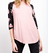 Pink Tee with Floral Sleeves