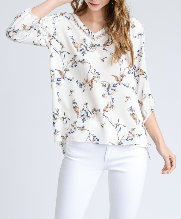 Split Sleeve Floral Blouse