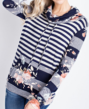 Navy Striped Floral Pullover