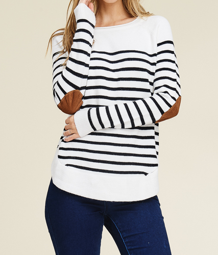 Striped Sweater with Elbow Patches