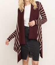 Wine Striped Cardigan
