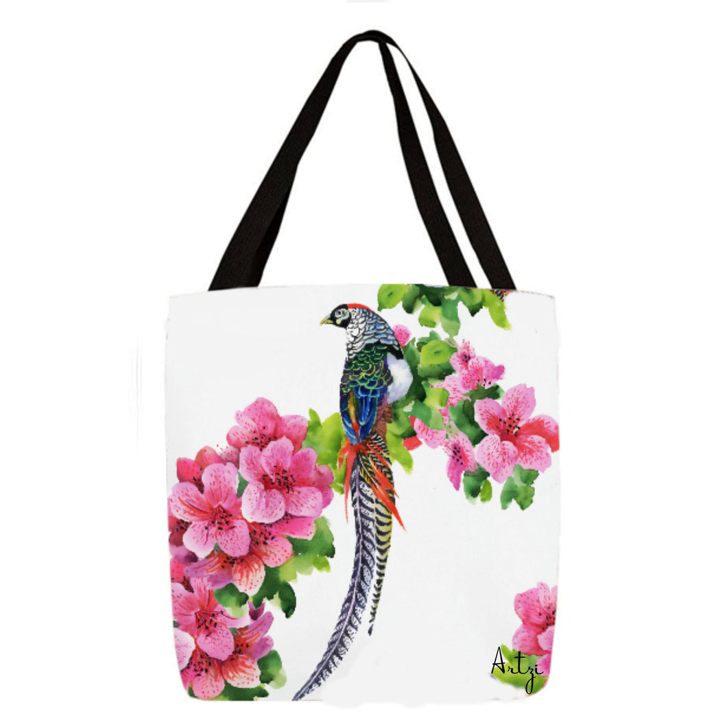 Tropical Birds with Flowers Tote - Artzi Prints