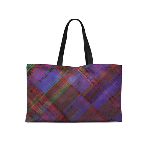 Purple Plaid Weekender Tote - Artzi Prints