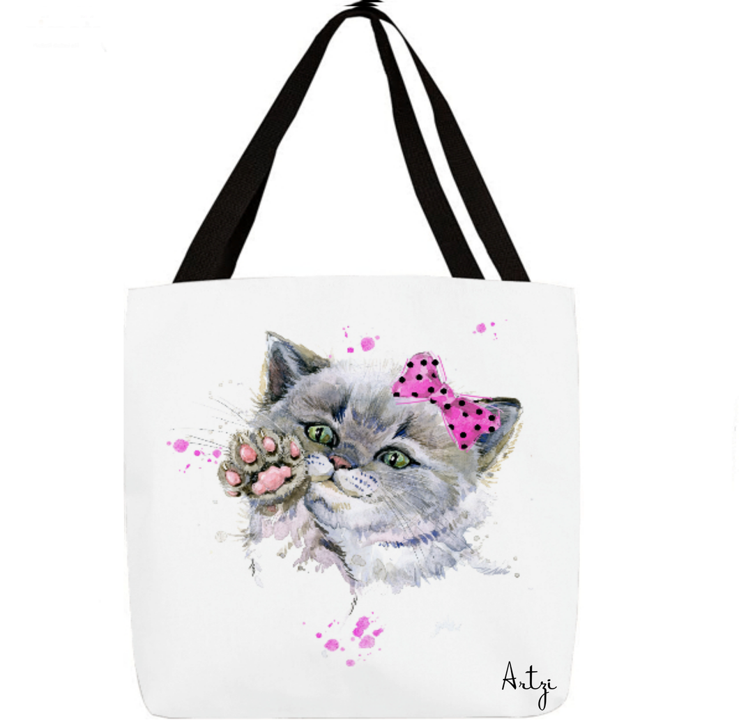 Pink Bow Kitty - Artzi Prints