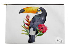 Toucan with Tropical Flowers Pouch - Artzi Prints